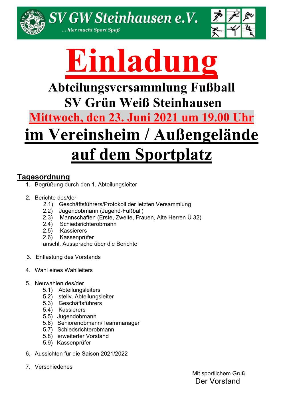 SV GW Steinhausen Einladung
